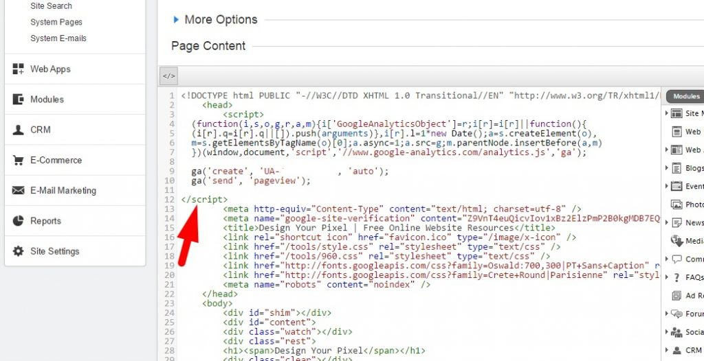 Google Analytics Code Placement