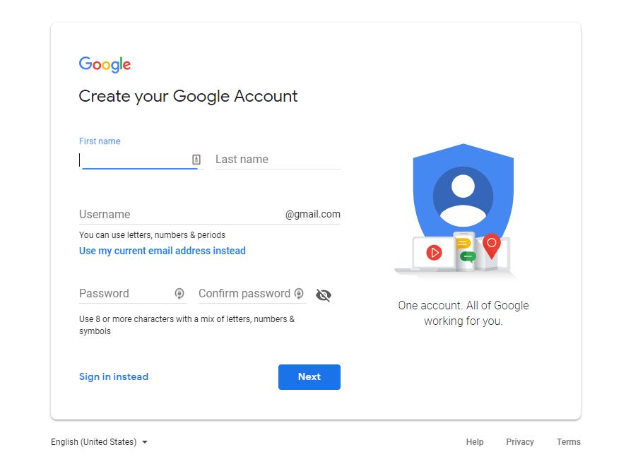 Google Analytics - Create a Google Account