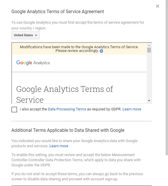 Google Analytics Terms of Service Agreement 1